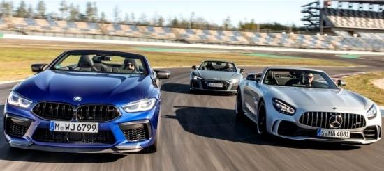 Patiesības mirklis. Mercedes-AMG GT R, BMW M8 Competition un Audi R8 Spyder Performance piedalās sacīkstēs trasē